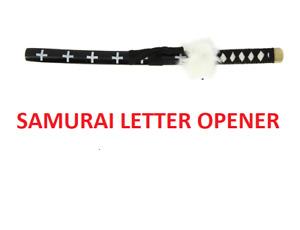 NEW DECORATIVE MINATURE JAPANESE SAMURAI SWORD LETTER OPENER NOVETLY GIFT WHBLK