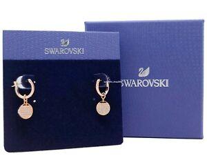 New Authentic SWAROVSKI Rose Gold Ginger Mini Hoop Pierced Earrings 5567528