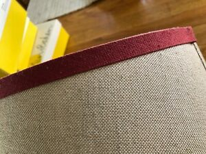 Pottery Barn Large 13 x 8 Inch Beige with Burgundy Trim Linen Drum Lamp Shade