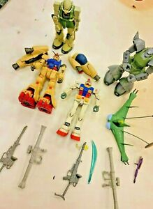 Lot Of 4 MSIA Mobile Suit In Action Figures! Gundam Anime RARE 🔥 & misc weapons