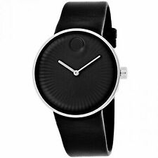 Mens Movado Edge 3680002 Black Leather Strap Watch Face Sapphire