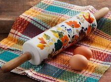 Pioneer Woman Rolling Pin Timeless Fall Floral Ceramic Wood Handles Flowers NEW