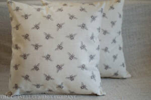 """Bumblebee Double Sided Cushion. 17x17"""" Vintage Style in Linen and Grey. Bees."""