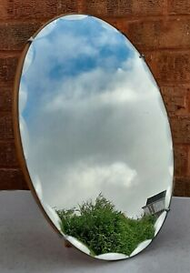 VINTAGE OVAL STANDING WOOD BACKED SCALLOPED & BEVELLED EDGE MIRROR