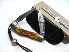 ROUGH RIDER Amber Bone DOGLEG Jack Series Mini MUSKRAT Knife + Pouch RR1017 New!