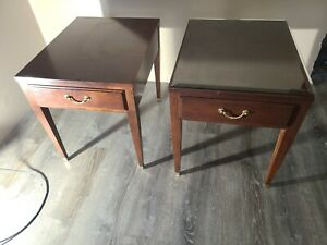 Ethan Allen tables Medalion  end side tables with drawers