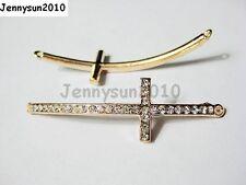 10Pcs Skiny Curved Side Ways Crystal Rhinestones Cross Bracelet Connector Beads