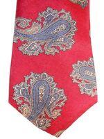 "Peacock Men's Silk Tie 57"" X 3.75"" Red w/ multi-color Paisley"
