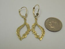 Leverback Earrings Style 2164 Solid 14k Yellow Gold Flower