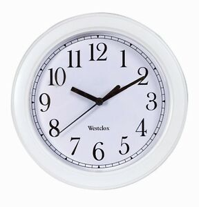 "New WESTCLOX White 9"" Wall Clock Quartz Battery Operated 46994A Home Office NIB!"