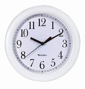 "WESTCLOX White 9"" Wall Clock Quartz Battery Operated 46994A Home Office NIB!"