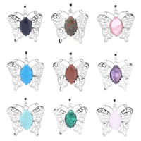 Fashion Women Opal Crystal Butterfly Charm Pendant Charm Necklace Jewelry