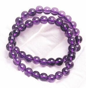 8mm 2Pcs Natural Brazil Amethyst Quartz Crystal Beads Bracelet