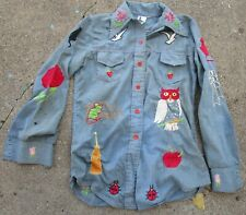 New listing Vintage 1970s Embroidered Blue Denim Xs Shirt Lots of Work!