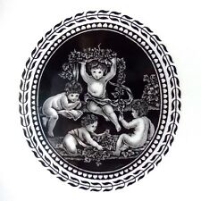 "FOUR WEDGWOOD CIPRIANI CHERUBS 10 3/4"" DINNER PLATES BLACK AND WHITE WEDGWOOD"