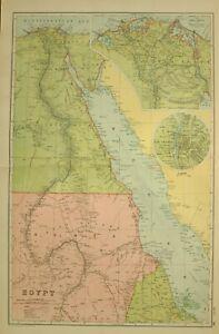 1912 LARGE ANTIQUE MAP EGYPT NUBIA CAIRO DELTA ALEXANDRIA SUEZ CANAL ISTHMUS