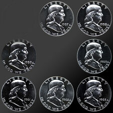 FULL SET 1957-1963 90% SILVER PROOF FRANKLIN HALF DOLLARS! 7 TOTAL COINS!