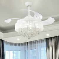 "46"" Modern Chandelier Fan Remote Retractable Crystal Ceiling Fan LED Light,White"