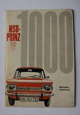 NSU Prinz 1000 mode d'emploi manuel d'utilisation 1964 - 1966
