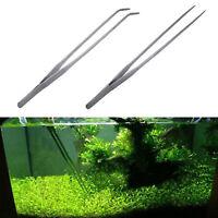 27CM Stainless Steel Tweezers Aquarium Live Tank Curve Plant Long Tongs Scissor