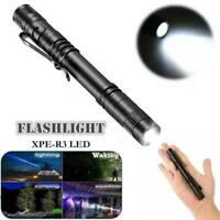 6000 lm XPE-R3 LED Mini Flashlight Pocket Clip Pen light Torch Lamp