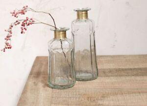 1 Tall Glass Bottle Stem Vase Gold Brass Neck. Chara Decorative Hammered Nkuku