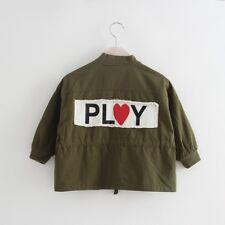 Girls Khaki Green Coat Love Heart Play ❤️ 6-7 Years BNWT