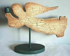 Primitive Wood Christmas Angel Taper Candle Holder Distress Finish Free Sh