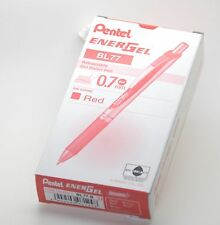 12 X Pentel EnerGel RTX Retractable Gel Roller Ball Pen 0.7mm BL77 RED Color