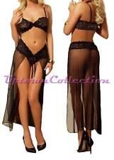 Ladies Black Lingerie Bra Lace Top & Long Skirt & G String Valentine Bridal 3pc