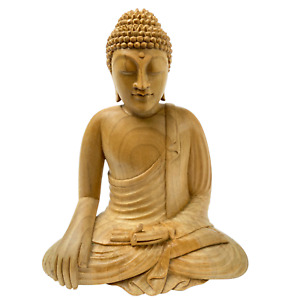 Earth Witness Buddha Sculpture Hand Carved Balinese Wood Carving Statue Bali art
