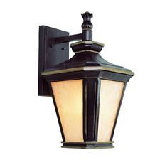Bel Air Lighting Hampton 1-Light Brown and Gold Outdoor Wall Lantern Sconce