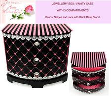 Mothers Gift Ladies Women Vanity Case Storage Drawer Cabinet BLACK Pink Hearts