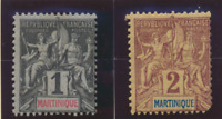 Martinique Stamps Scott #33 To 34, Mint Hinged