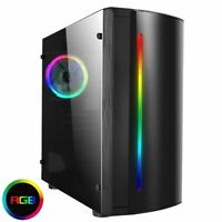 CIT Beam Rainbow RGB Micro Gaming ATX PC Case LED Fan Acrylic Window Glass mATX