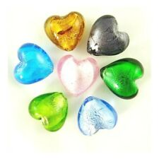 Packet 20 X Mixed Foil Glass 20mm Puffy Heart Beads Y05245