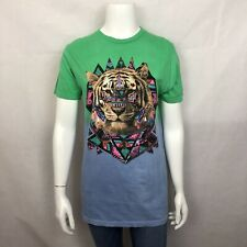 0c66e90e1 New Urban Outfitters T Shirt Tie Dye Graphic Tiger Neon Green Retro Short  Sleeve