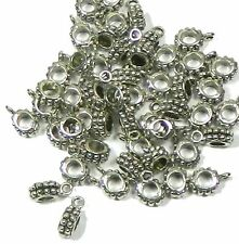 50 Pendant Bails Bead Hangers Antiqued Silver 3mm Hole 13x8mm