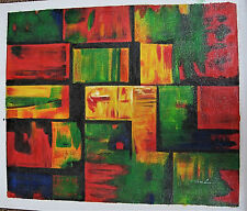 "Green Red Tiles Abstract Original Oil on Canvas 23 x 27"" Unframed Painting"