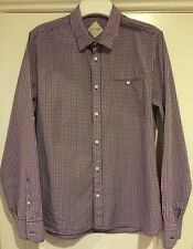 MENS BLUE AND RED CHECK CHARLES CHEVIGNON LONG SLEEVED SLIM FIT SHIRT SIZE LARGE