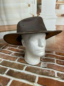 Sydney Oil Skin CO. Genuine Leather Australian Made Brown Hat  XXL