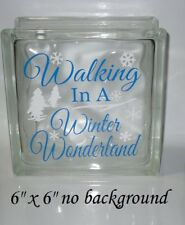 """Walking in a Winter Wonderland Christmas Decal Sticker for 8"""" Glass Block"""