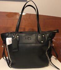 NWT Beautiful Coach Black Leather Whiplash Tatum Tote Handbag Shoulder Bag 34398
