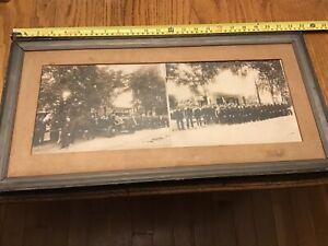 "~ATTIC FIND~ Antique Framed Photo FIREMAN ""Last Alarm"" Funeral Hearse +++++"