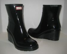 HUNTER ORIGINAL REFINED MID WEDGE SHORT GLOSSY BOOTS BLACK SIZE 7