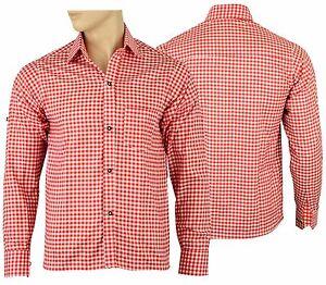 Mens Bavarian Red Checked Classic Style Lederhosen   Shirts