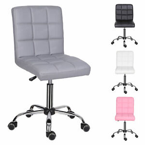 Swivel Office Chair Computer Desk PC Table Chair Faux PU Leather Padded Seat UK