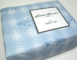 Eddie Bauer Home Cotton Pale Blue Plaid Trout Meadow King Sheet Set New