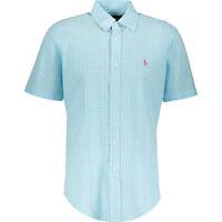 RALPH LAUREN Men's Turquoise Seersucker Gingham Shirt, size Small