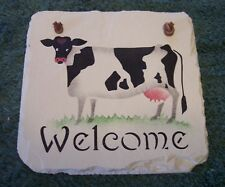 Cow Hand-stenciled Mini Welcome Slate made in U.S.A. from Maine Roofing Slate